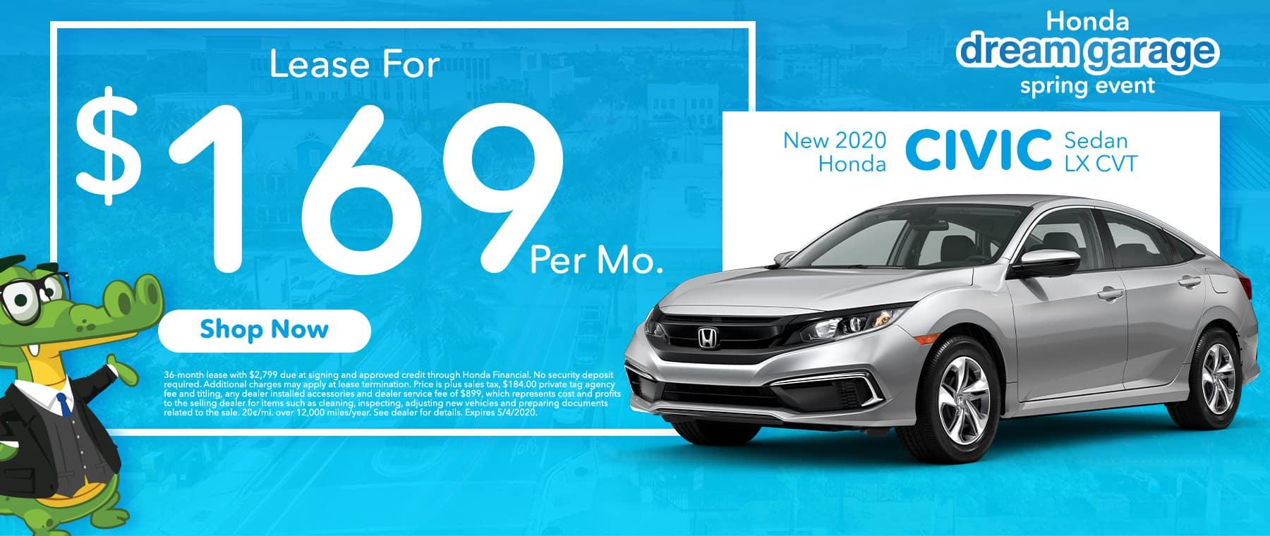 New 2020 Honda Civic Sedan LX CVT | Lease For $169 Per Mo | Honda Dream Garage Spring Event