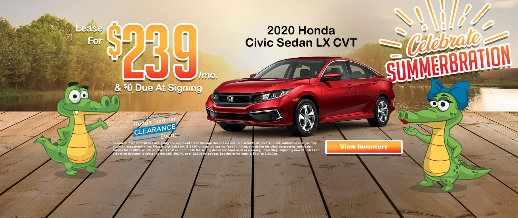 New 2020 Honda Civic Sedan LX CVT | Lease For $239 Per Mo | $0 Due At Signing | Celebrate Summerbration | Honda Summer Clearance Event