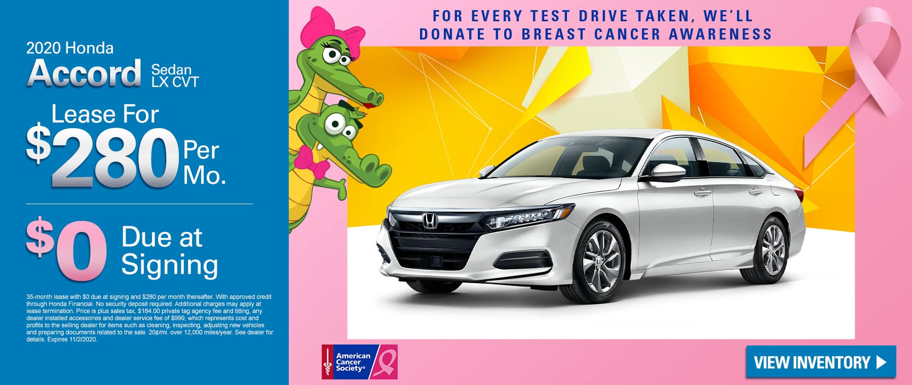 New 2020 Honda Accord Sedan LX CVT | Lease For $280 Per Month | $0 Due At Signing | For Every Test Drive Taken, We'll Donate To Breast Cancer Research