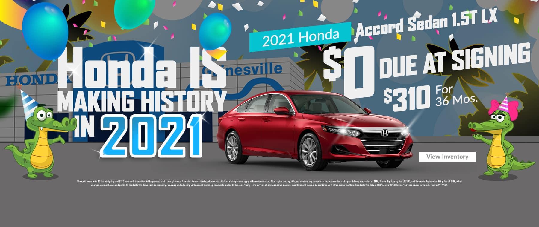 2021 Honda Accord Sedan LX CVT | $0 Due At Signing | $310/Mo For 36 Months