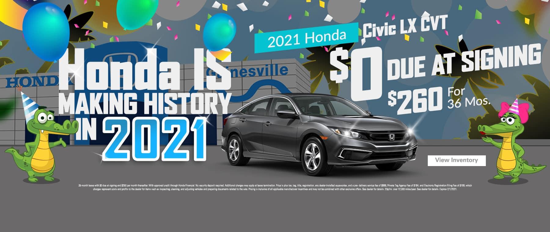 2021 Honda Civic Sedan LX CVT | $0 Due At Signing | $260/Mo For 36 Months