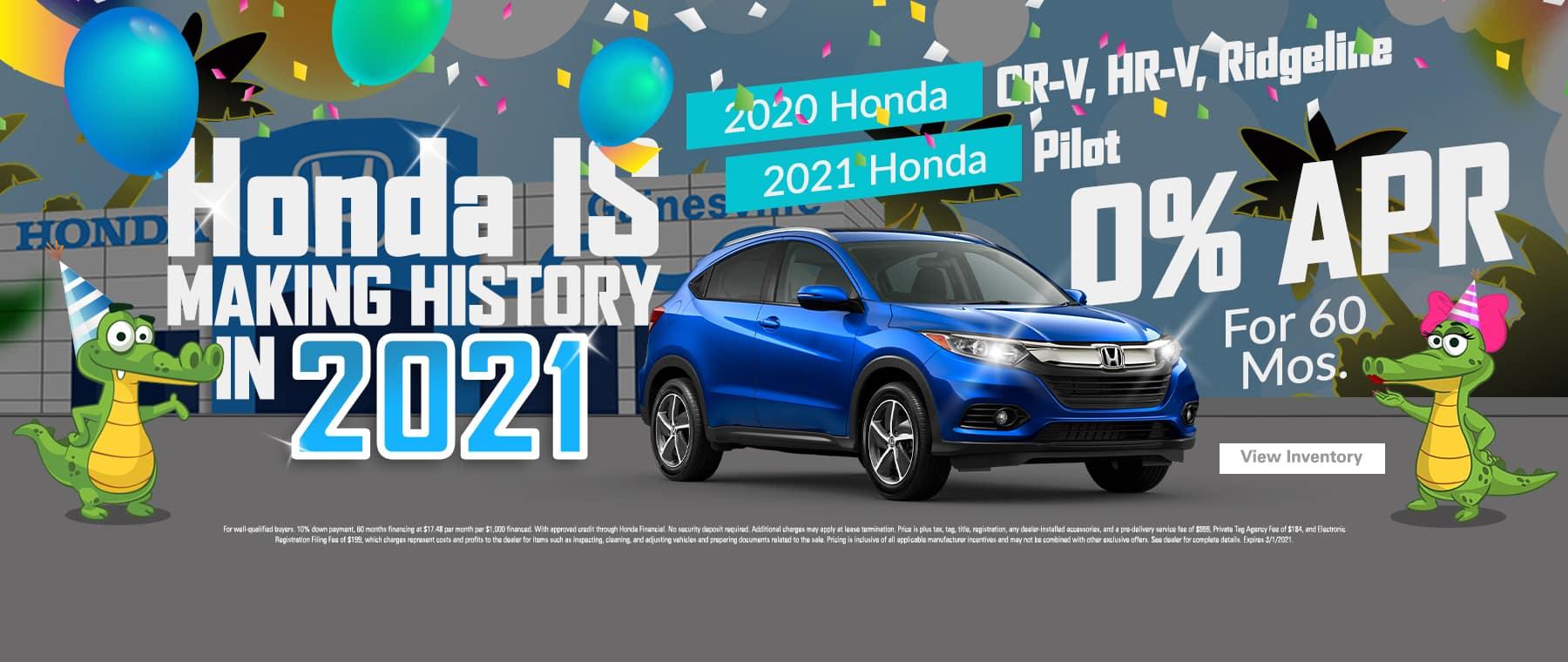 2020 Honda CR-V, HR-V, Ridgeline 2021 Honda Pilot | 0% APR For 60 Months