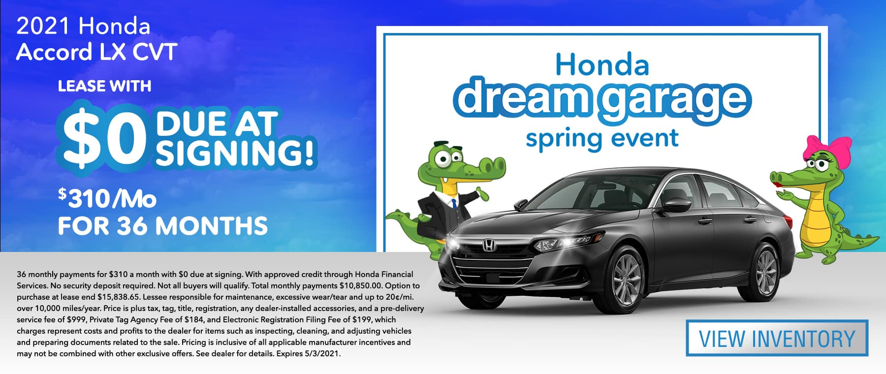 2021 Honda Accord LX CVT | Lease With $0 Due At Signing $310/Mo For 36 Months | Honda dream garage spring event