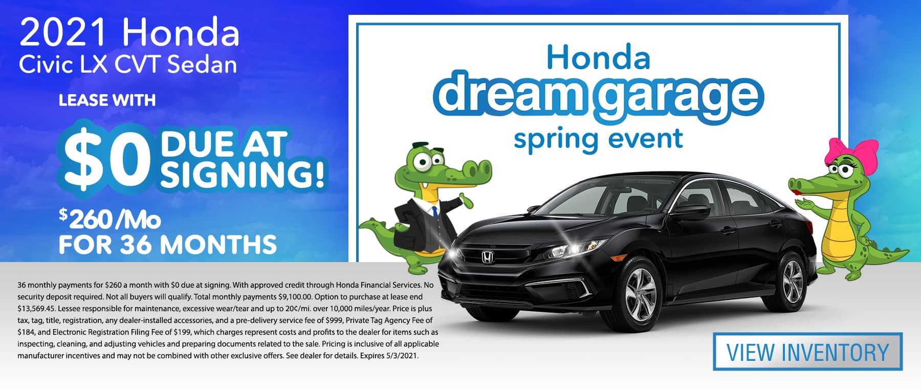 2021 Honda Civic Sedan LX CVT | Lease With $0 Due At Signing $260/Mo For 36 Months | Honda dream garage spring event