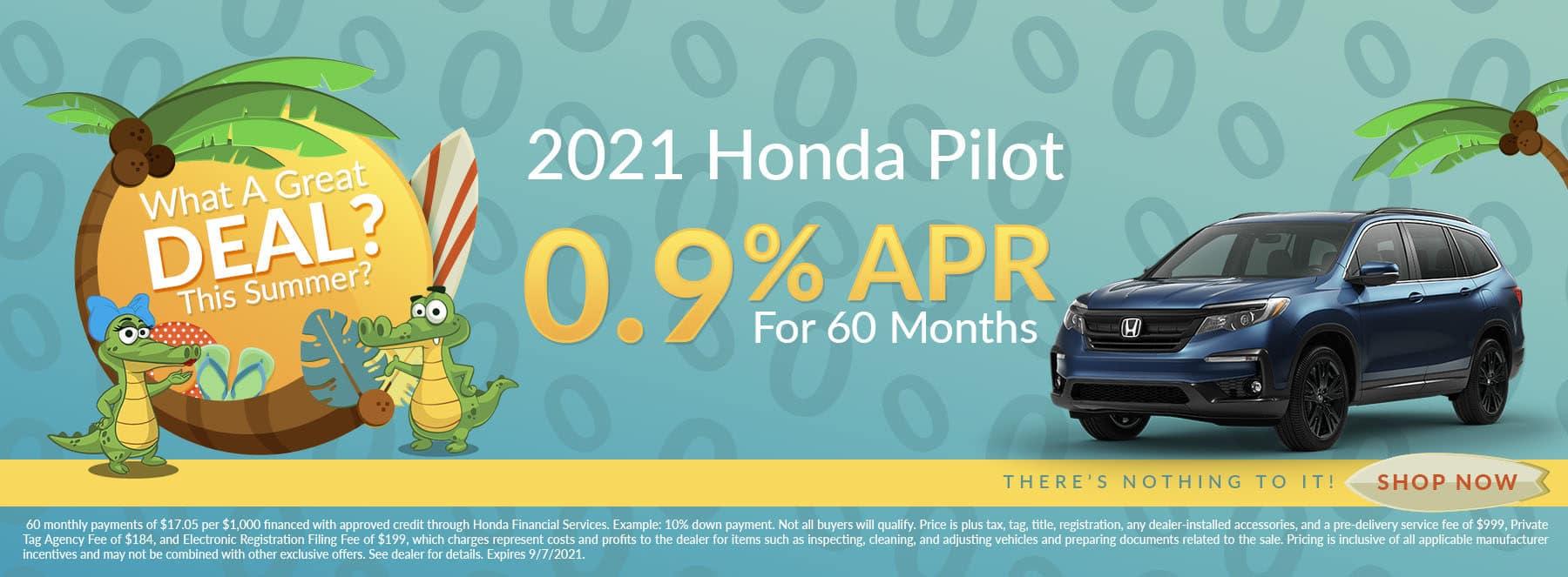 Want A Great Deal This Summer? | 2021 Honda Pilot | 0.9% APR For 60 Months
