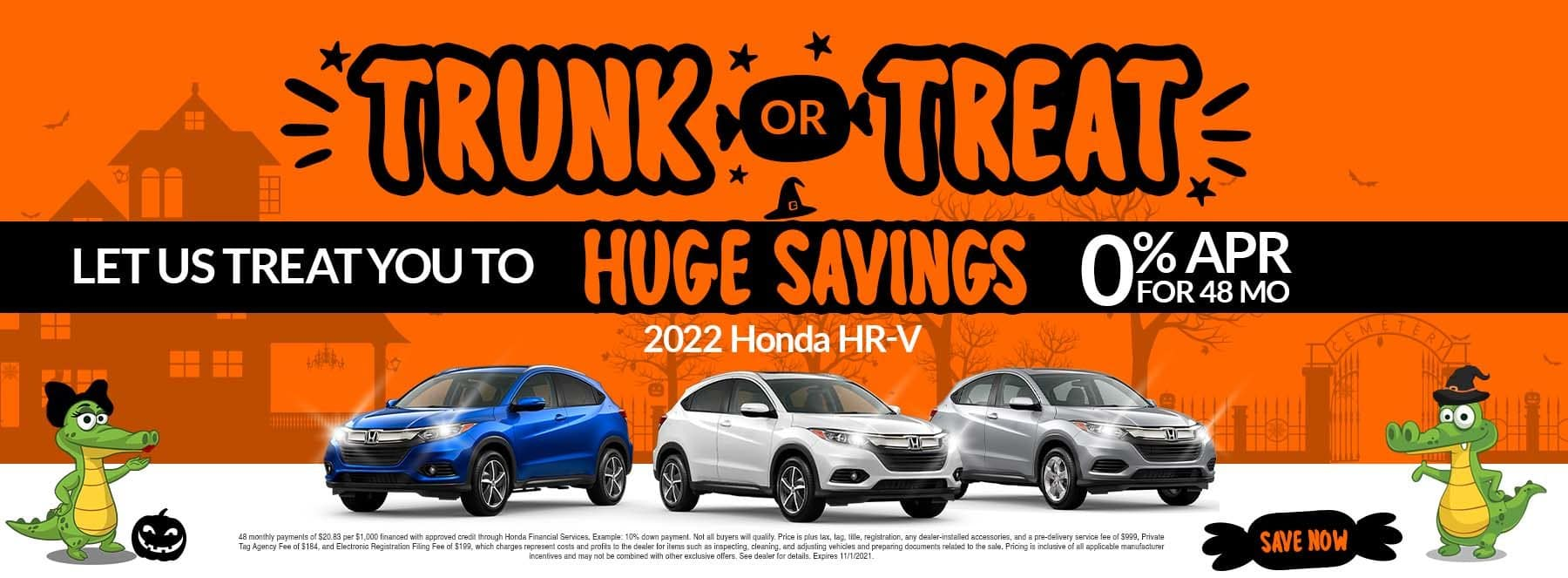 Trunk Or Treat | Let Us Treat You To Huge Savings | 2022 Honda HR-V | 0% APR For 48 Months