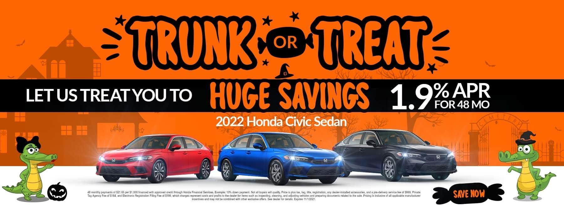 Trunk Or Treat | Let Us Treat You To Huge Savings | 2022 Honda Civic Sedan | 1.9% APR For 48 Months
