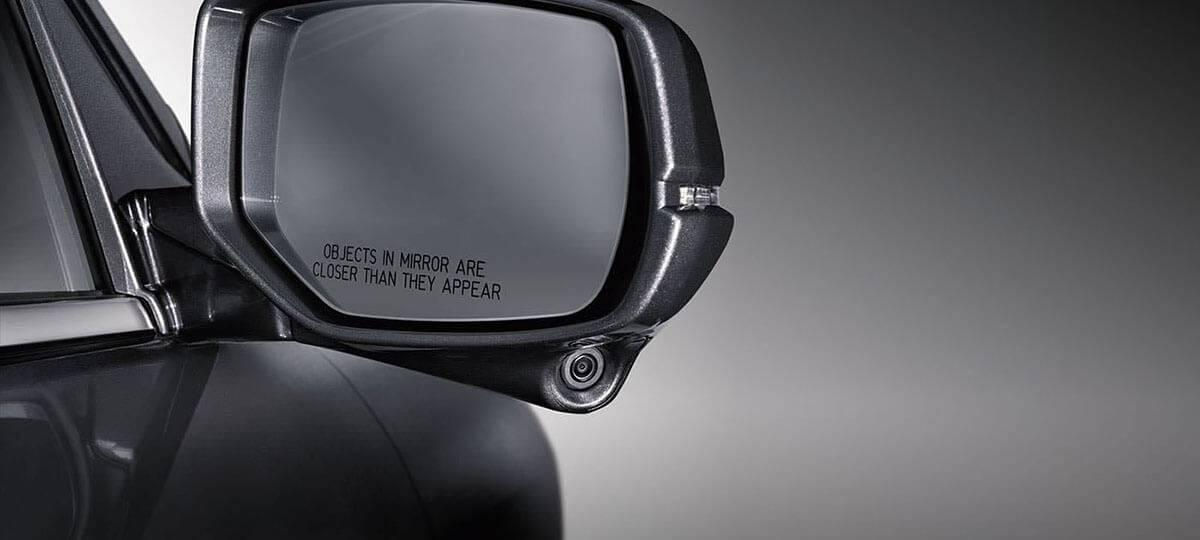 Passenger Side Mirror of Honda Accord with Honda LaneWatch on Grayscale Background