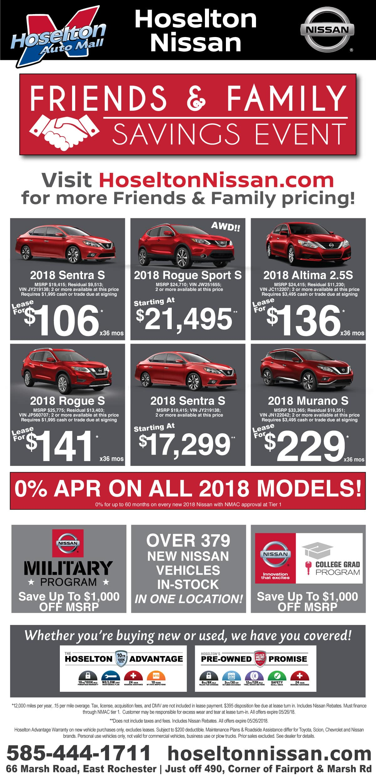 Save during the Friends and Family Savings Event at Hoselton Nissan