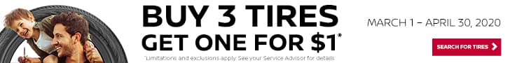 buy 3 tires and get one for $1; some restrictions apply