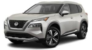 A silver 2021 Nissan Rogue is angled right.