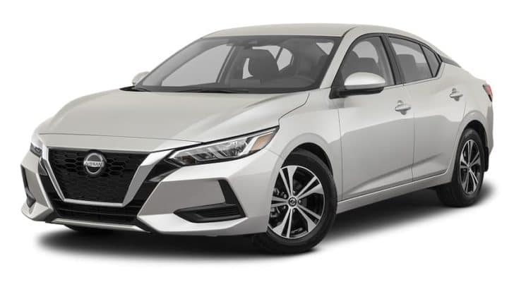A silver 2021 Nissan Sentra is angled left.