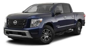 A blue 2021 Nissan Titan is angled left.