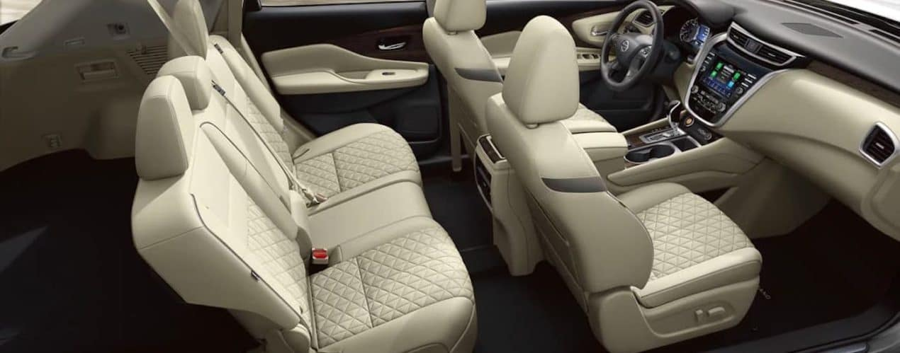 The beige interior and seating in a 2021 Nissan Murano is shown.