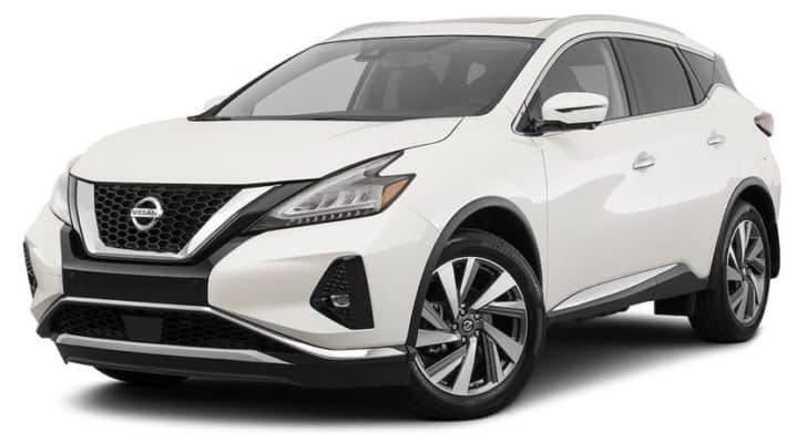 A white 2021 Nissan Murano SL is angled left.