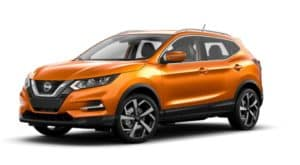 An orange 2021 Nissan Rogue Sport is shown angled left.