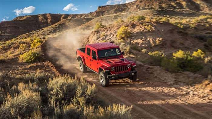 2020 Jeep Gladiator Off-Roading on Dirt Mountain Road