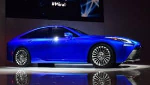 Electric blue 2021 Toyota Mirai Fuel Cell Vehicle