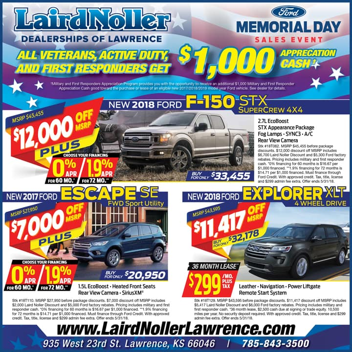 Laird Noller Ford Lawrence, Kansas best prices on F-150, Escape, Edge in May 2018