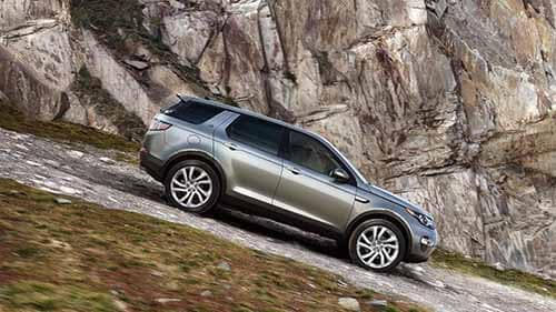 Land Rover Discovery Sport driving down hill