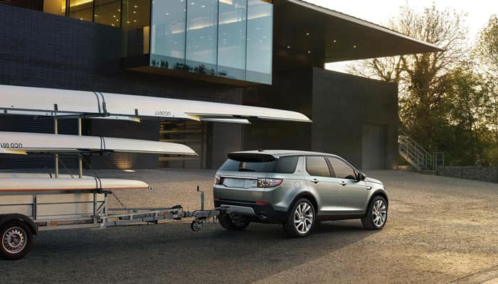 2019 Range Rover Discovery Parked with Trailer Attached