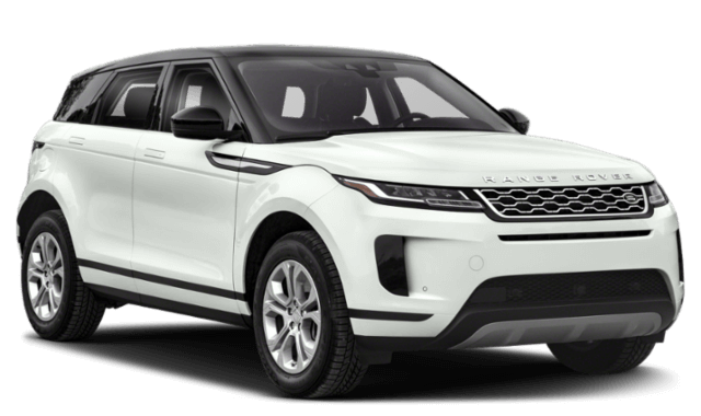 2020 Range Rover Evoque white suv viewed from front