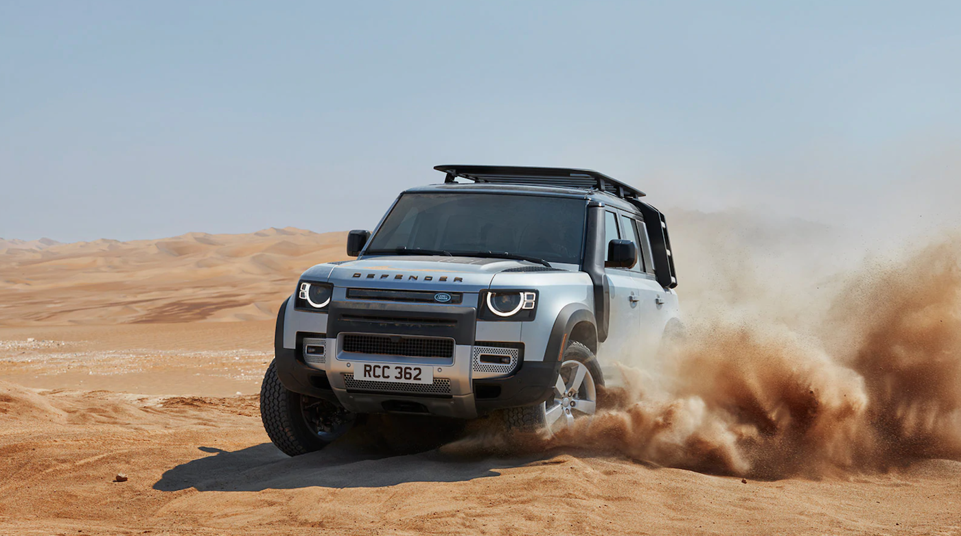 The 2021 Land Rover Defender off-roading.
