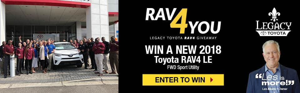 Win a 2018 RAV4 LE from Legacy Toyota Tallahassee FL