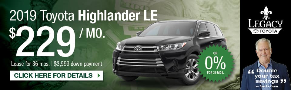 Lease Special 2019 Toyota Highlander LE in Tallahassee FL