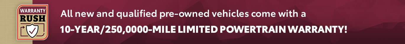 10-Year/250,0000-Mile Limited Powertrain Warranty!