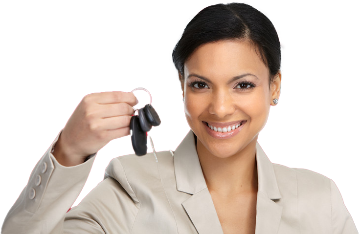 Woman with keys to her new Buy Here Pay Here car