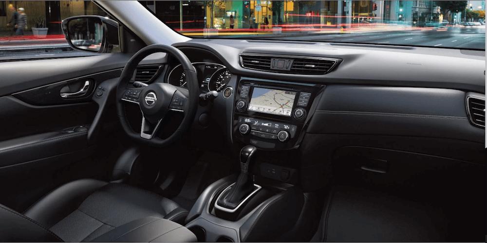 2019 Nissan Rogue interior dashboard and steering wheel