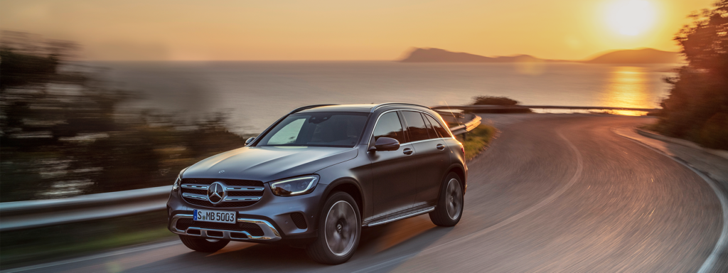 Mercedes GLC exterior Grey Colour Driving on Road