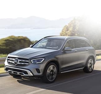 2020 Mercedes-Benz GLC 300 driving through mountain road