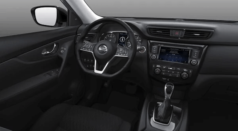 2019 Nissan Rogue interior steering wheel and dashboard