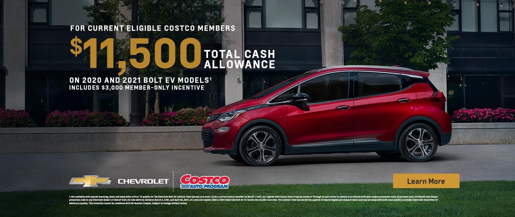 Chevrolet Costco $11500 Cassh Allowance red Chevy Bolt