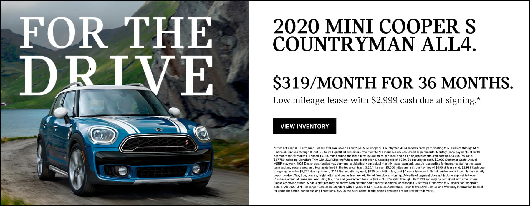 2020 MINI COOPER S COUNTRYMAN ALL4 $319/MONTH FOR 36 MONTHS