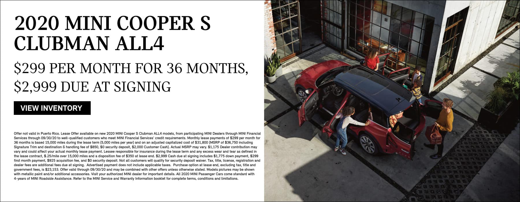 2020 MINI COOPER S CLUBMAN ALL4. LEASE FOR $299 PER MONTH FOR 36 MONTHS, $2999 DUE AT SIGNING