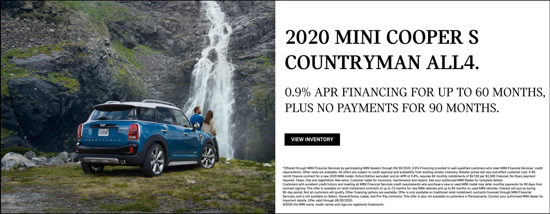 2020 MINI COOPER S COUNTRYMAN ALL4. 0.9% APR FINANCING FOR UP TO 60 MONTHS, PLUS NO PAYMENTS FOR 90 DAYS
