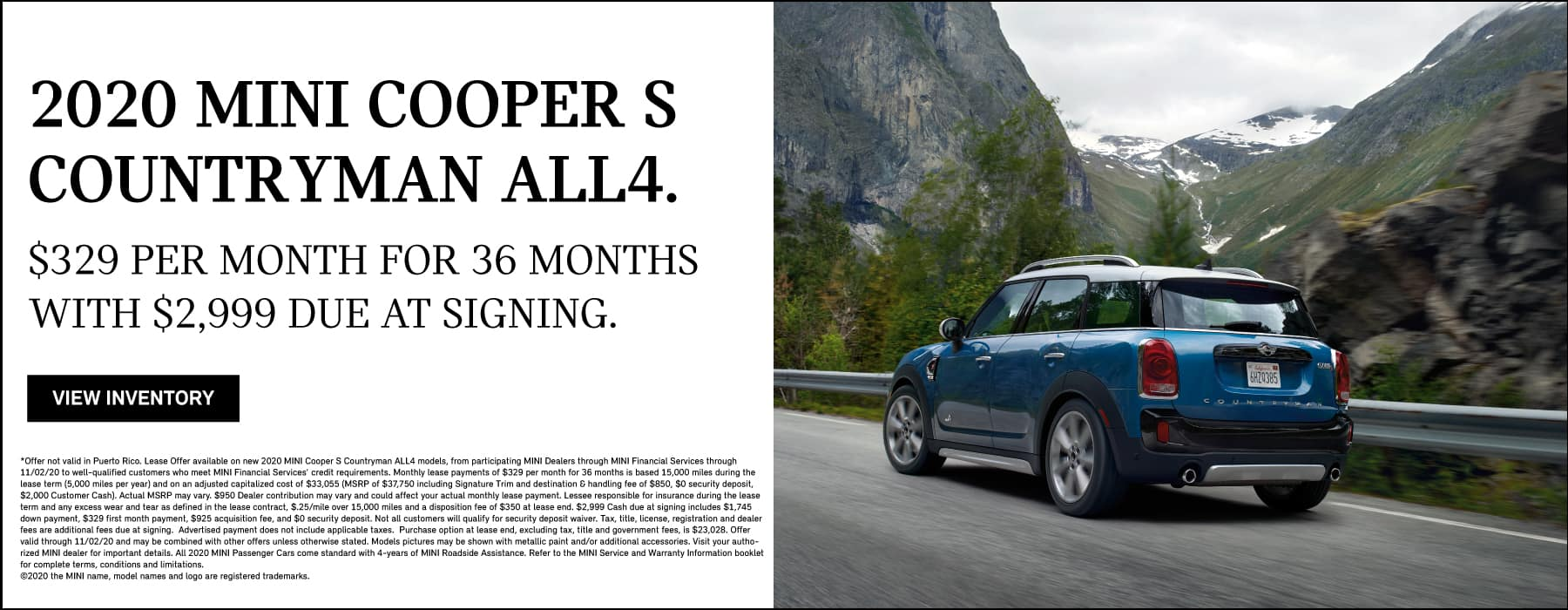 MINI COOPER S COUTRYMAN ALL4. $329 per month for 36 months.