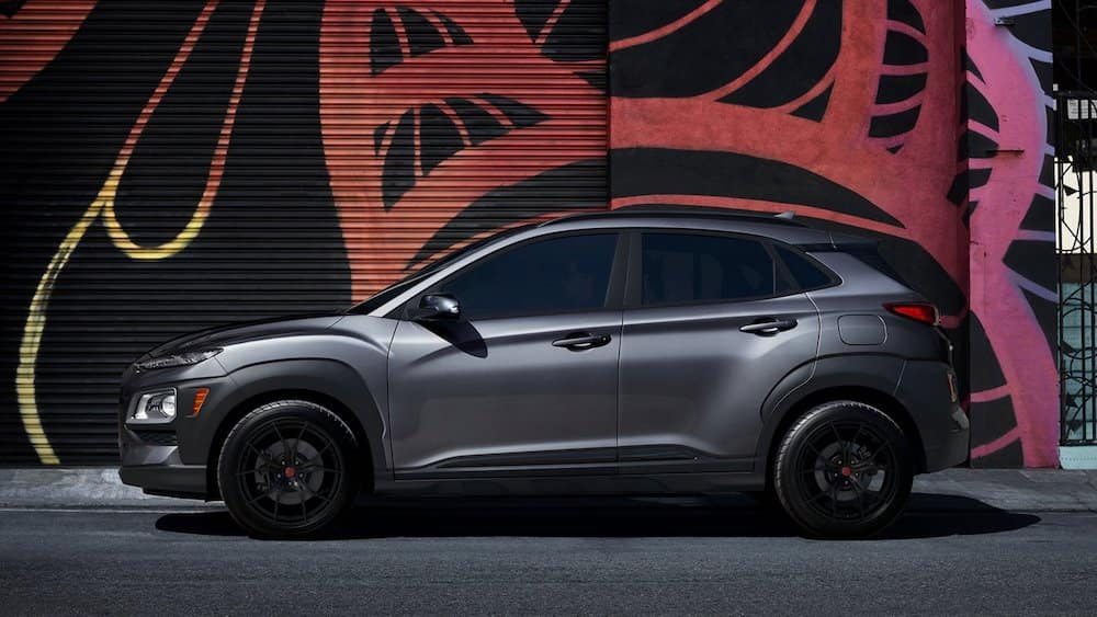 2021 Hyundai Kona parked on the side of the street.