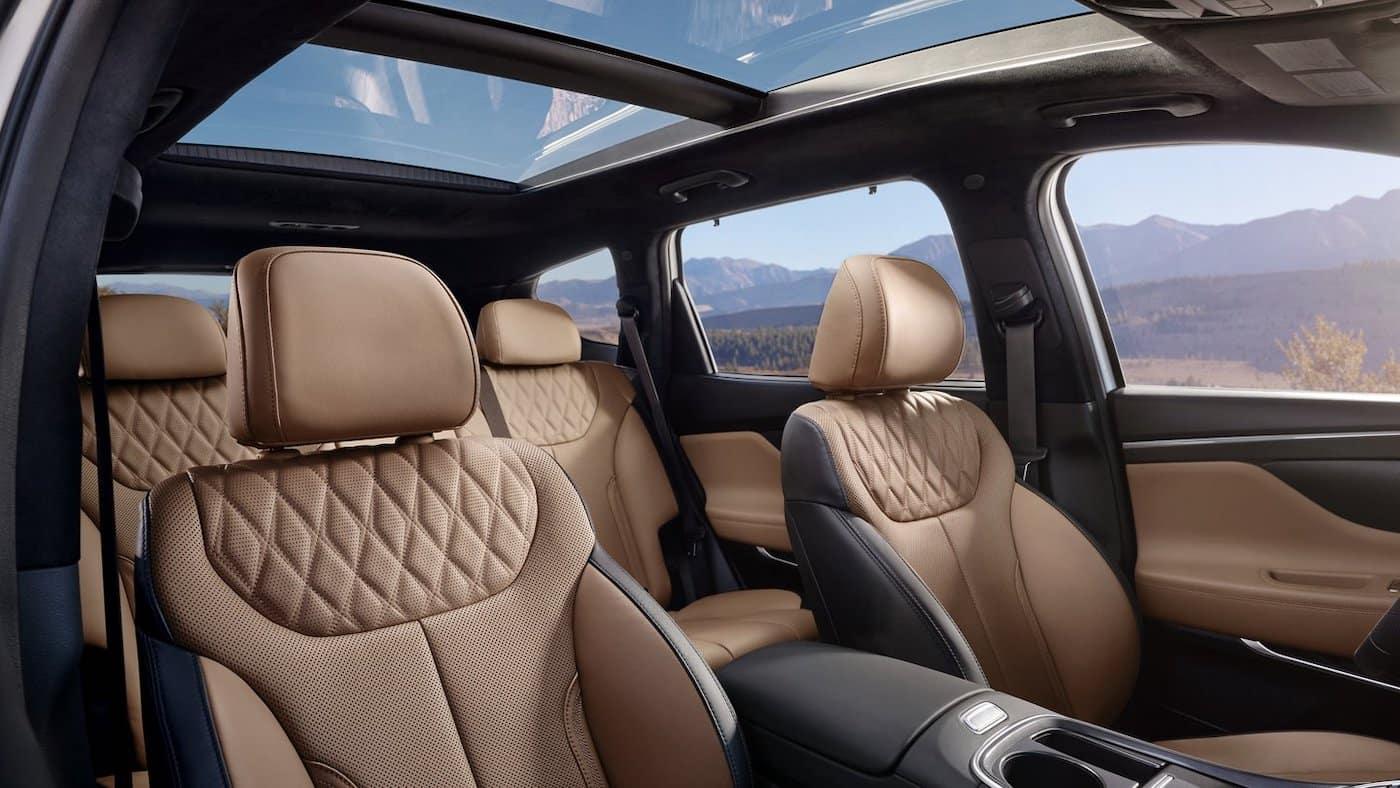 The 2021 Hyundai Santa Fe with a panoramic sunroof.