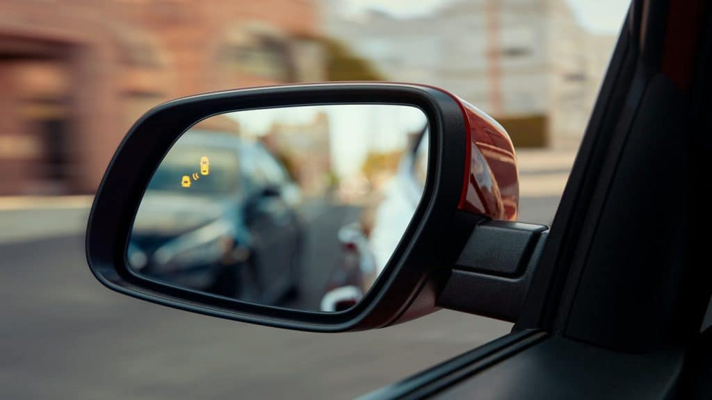 The available Blind Spot Monitoring system with the 2021 Hyundai Venue.