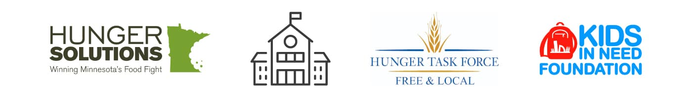Feeding minds partner logos. Hunger Solutions, Kinds In Need Foundation, Schoolhouse icon.