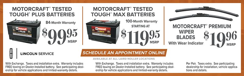 Lincoln Service Specials on Batteries Topeka November 2017