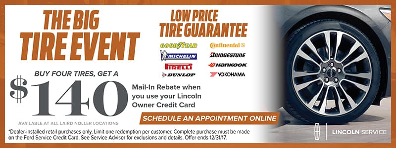 Lincoln Service Specials on Tires Topeka November 2017
