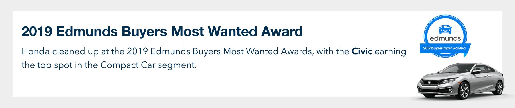 2019 Honda Civic Coupe Edmunds Buyers Most Wanted Award Slider