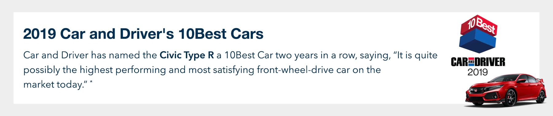 2019 Honda Civic Type R Car and Driver 10Best Award Slider
