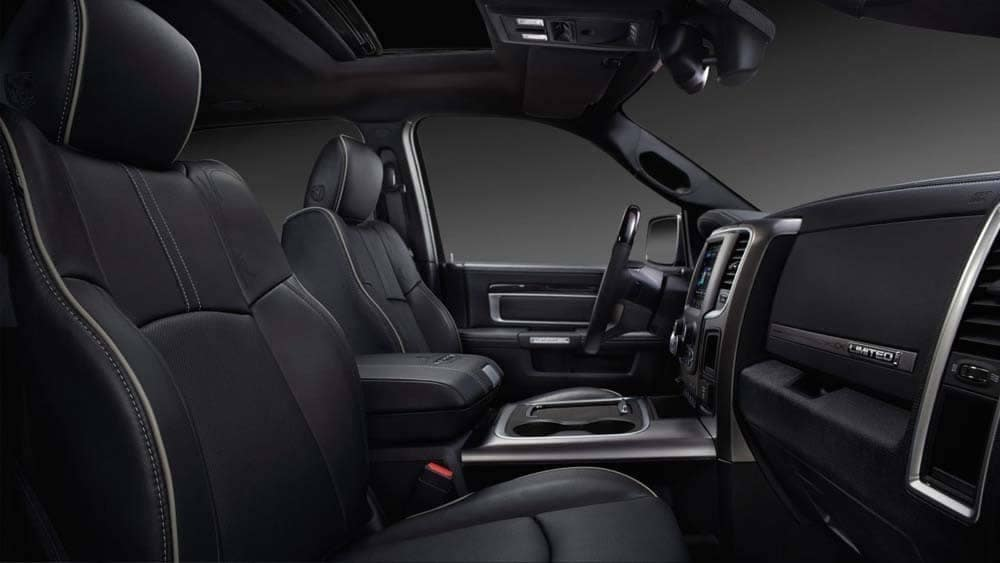 black leather interior cabin of 2018 Ram 2500