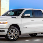 2019 RAM 1500 sits on top of a parking garage with buildings in the background